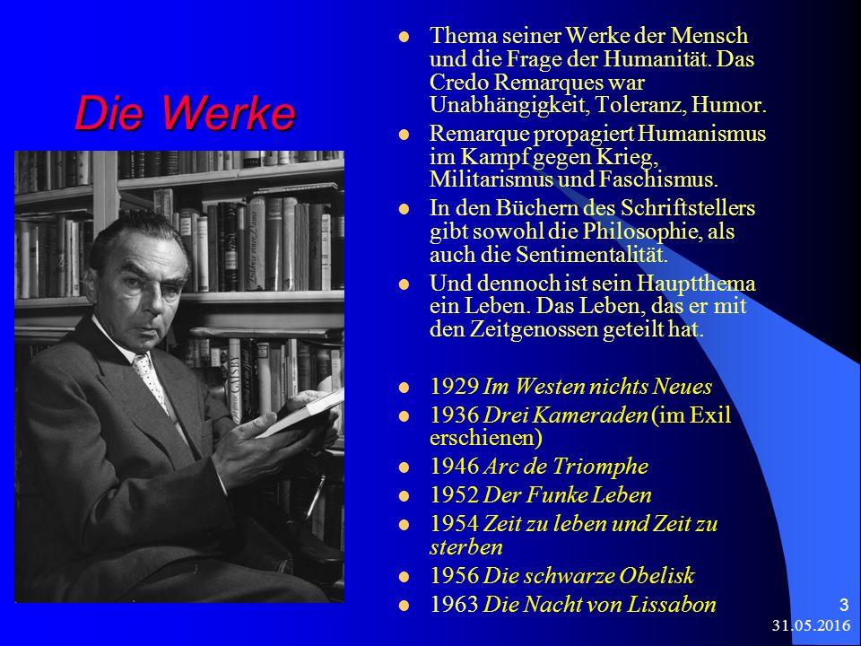 31.05.2016 3 Die Werke Thema seiner Werke der Mensch und die Frage der Humanität.