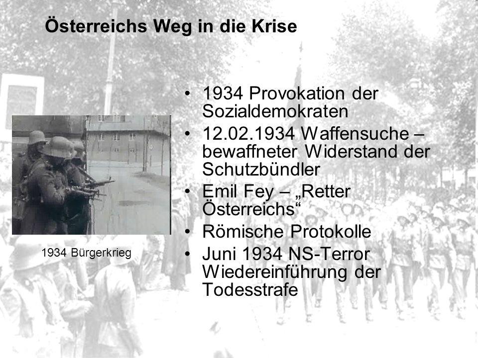 """Österreichs Weg in die Krise 1934 Provokation der Sozialdemokraten 12.02.1934 Waffensuche – bewaffneter Widerstand der Schutzbündler Emil Fey – """"Retter Österreichs Römische Protokolle Juni 1934 NS-Terror Wiedereinführung der Todesstrafe 1934 Bürgerkrieg"""