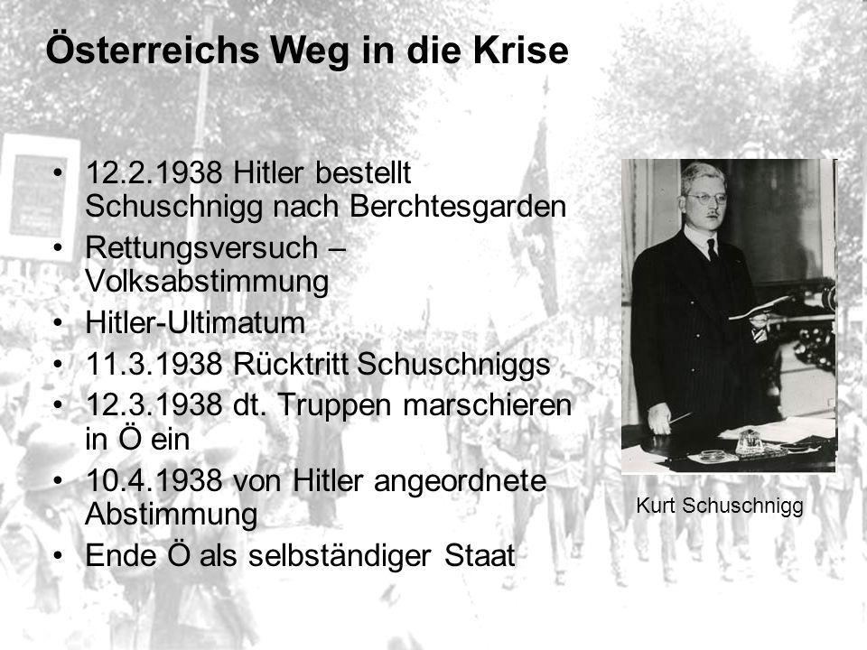 Österreichs Weg in die Krise 12.2.1938 Hitler bestellt Schuschnigg nach Berchtesgarden Rettungsversuch – Volksabstimmung Hitler-Ultimatum 11.3.1938 Rücktritt Schuschniggs 12.3.1938 dt.