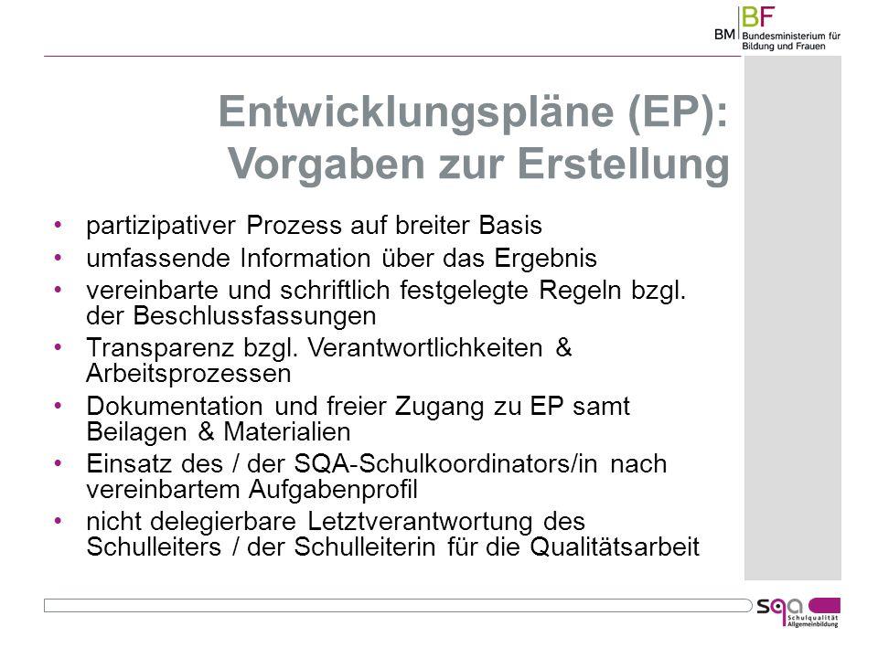 Entwicklungspläne (EP): Vorgaben zur Erstellung partizipativer Prozess auf breiter Basis umfassende Information über das Ergebnis vereinbarte und schriftlich festgelegte Regeln bzgl.