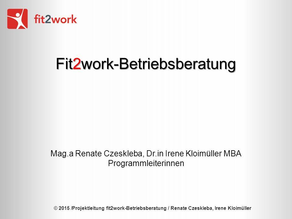© 2015 /Projektleitung fit2work-Betriebsberatung / Renate Czeskleba, Irene Kloimüller Fit2work-Betriebsberatung Mag.a Renate Czeskleba, Dr.in Irene Kloimüller MBA Programmleiterinnen