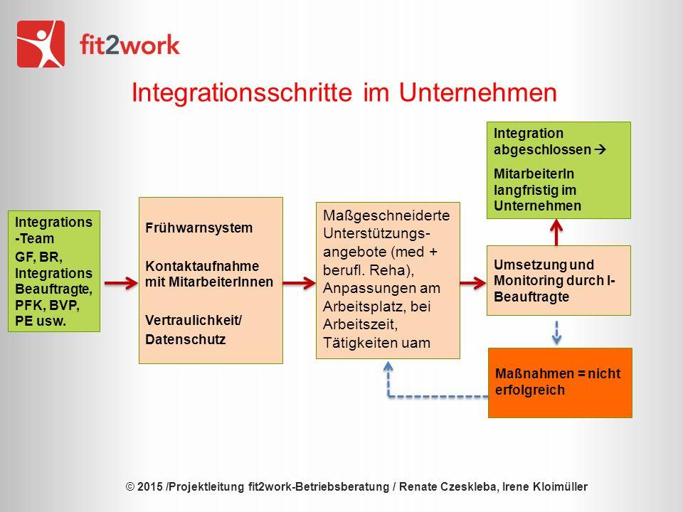 © 2015 /Projektleitung fit2work-Betriebsberatung / Renate Czeskleba, Irene Kloimüller Integrationsschritte im Unternehmen Maßgeschneiderte Unterstützungs- angebote (med + berufl.