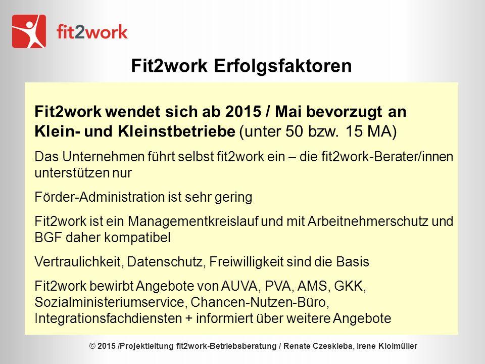 © 2015 /Projektleitung fit2work-Betriebsberatung / Renate Czeskleba, Irene Kloimüller Fit2work Erfolgsfaktoren Fit2work wendet sich ab 2015 / Mai bevorzugt an Klein- und Kleinstbetriebe (unter 50 bzw.