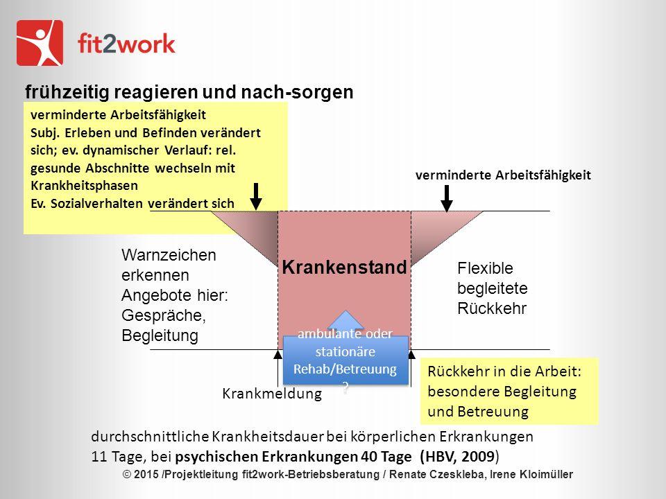 © 2015 /Projektleitung fit2work-Betriebsberatung / Renate Czeskleba, Irene Kloimüller fit2work BB Bietergemeinschaft: gebündelte, umfassende Kompetenz