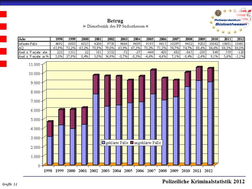 Polizeiliche Kriminalstatistik 2012 Betrug » Dienstbezirk des PP Südosthessen « Grafik 12