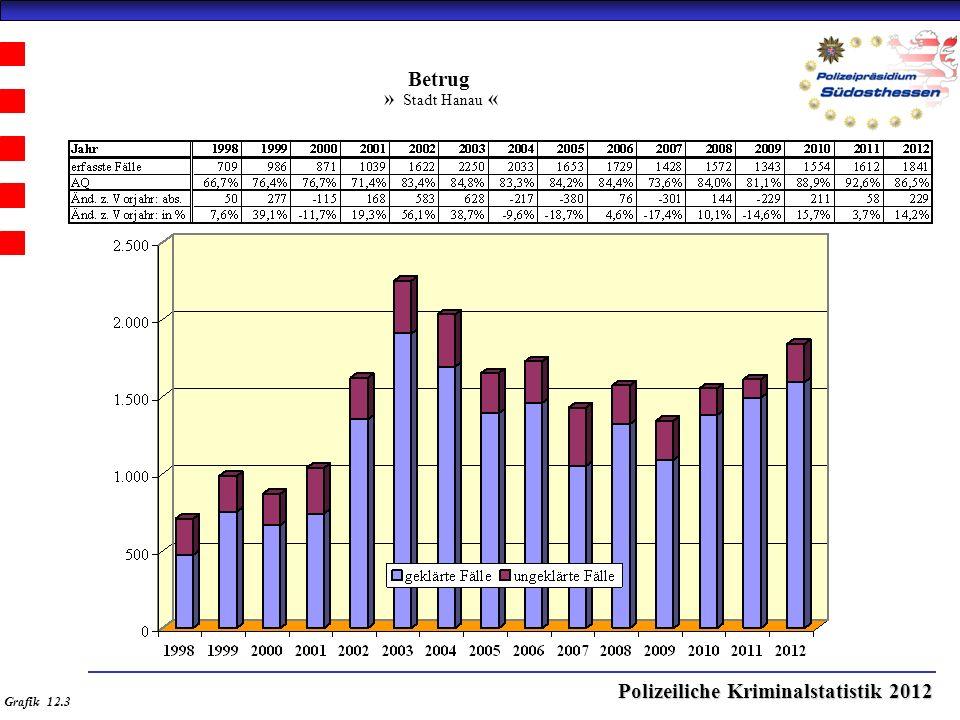 Polizeiliche Kriminalstatistik 2012 Betrug » Stadt Hanau « Grafik 12.3