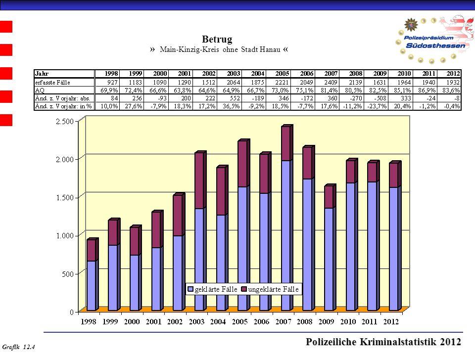 Polizeiliche Kriminalstatistik 2012 Betrug » Main-Kinzig-Kreis ohne Stadt Hanau « Grafik 12.4