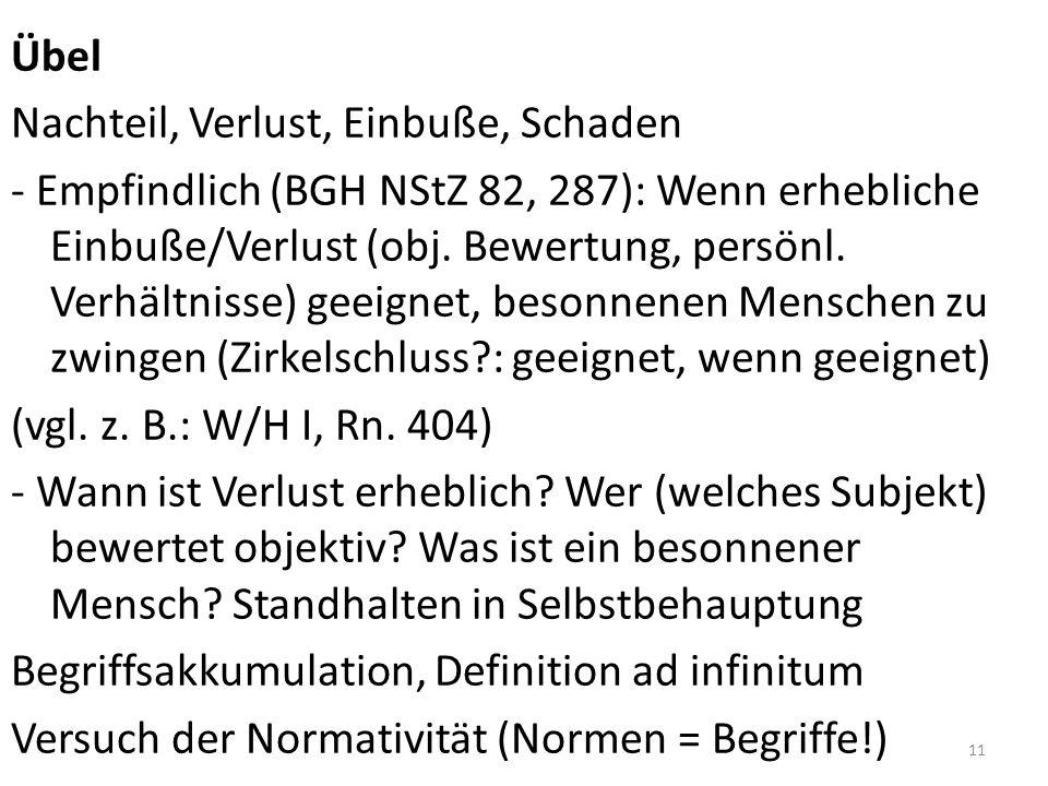 Übel Nachteil, Verlust, Einbuße, Schaden - Empfindlich (BGH NStZ 82, 287): Wenn erhebliche Einbuße/Verlust (obj.
