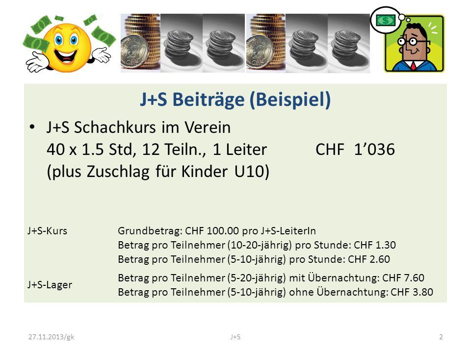 J+S Beiträge (Beispiel) J+S Schachkurs im Verein 40 x 1.5 Std, 12 Teiln., 1 Leiter CHF 1'036 (plus Zuschlag für Kinder U10) J+S-Kurs Grundbetrag: CHF 100.00 pro J+S-LeiterIn Betrag pro Teilnehmer (10-20-jährig) pro Stunde: CHF 1.30 Betrag pro Teilnehmer (5-10-jährig) pro Stunde: CHF 2.60 J+S-Lager Betrag pro Teilnehmer (5-20-jährig) mit Übernachtung: CHF 7.60 Betrag pro Teilnehmer (5-10-jährig) ohne Übernachtung: CHF 3.80 27.11.2013/gkJ+S2
