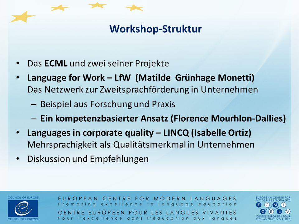 Workshop-Struktur Das ECML und zwei seiner Projekte Language for Work – LfW (Matilde Grünhage Monetti) Das Netzwerk zur Zweitsprachförderung in Untern