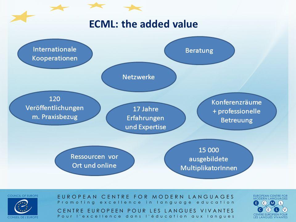 ECML: the added value Internationale Kooperationen Beratung 15 000 ausgebildete MultiplikatorInnen Ressourcen vor Ort und online Netzwerke 120 Veröffe