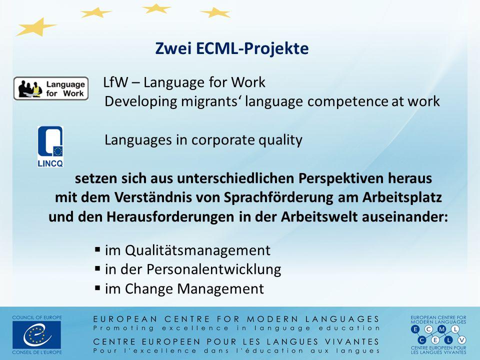 LfW – Language for Work Developing migrants' language competence at work Languages in corporate quality setzen sich aus unterschiedlichen Perspektiven