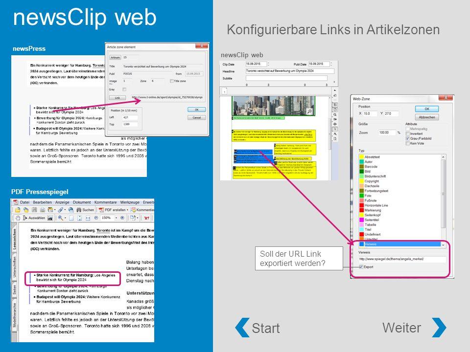 newsClip web Konfigurierbare Links in Artikelzonen newsClip web PDF Pressespiegel newsPress Soll der URL Link exportiert werden.