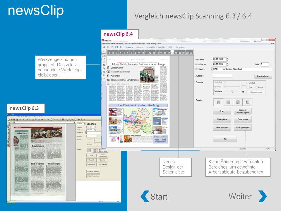 newsClip Vergleich newsClip Scanning 6.3 / 6.4 Werkzeuge sind nun gruppiert.
