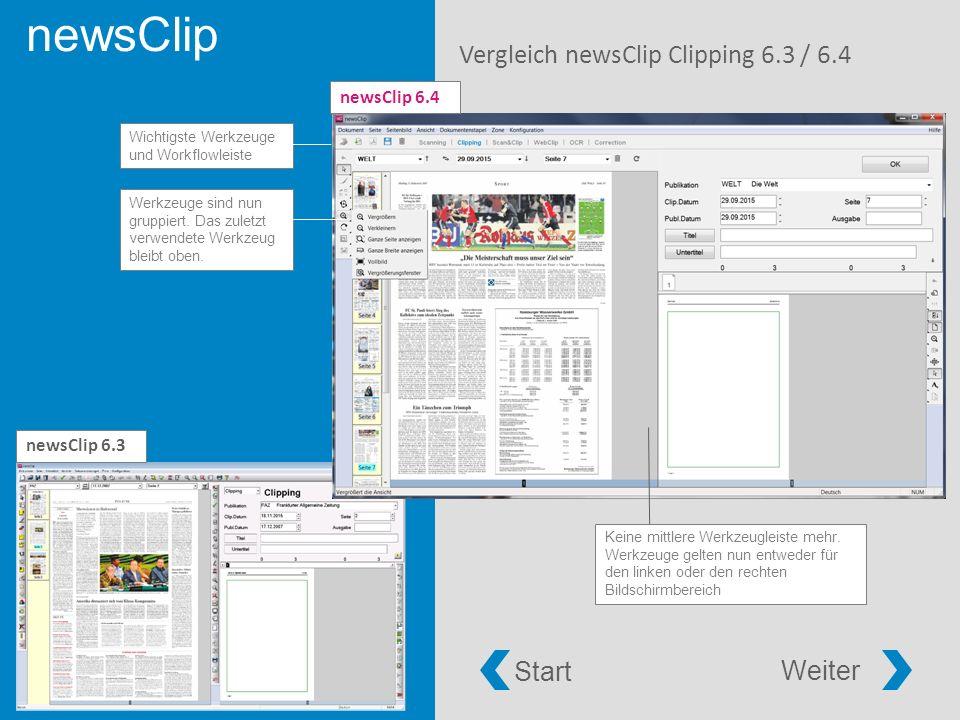 newsClip Vergleich newsClip Clipping 6.3 / 6.4 Werkzeuge sind nun gruppiert.