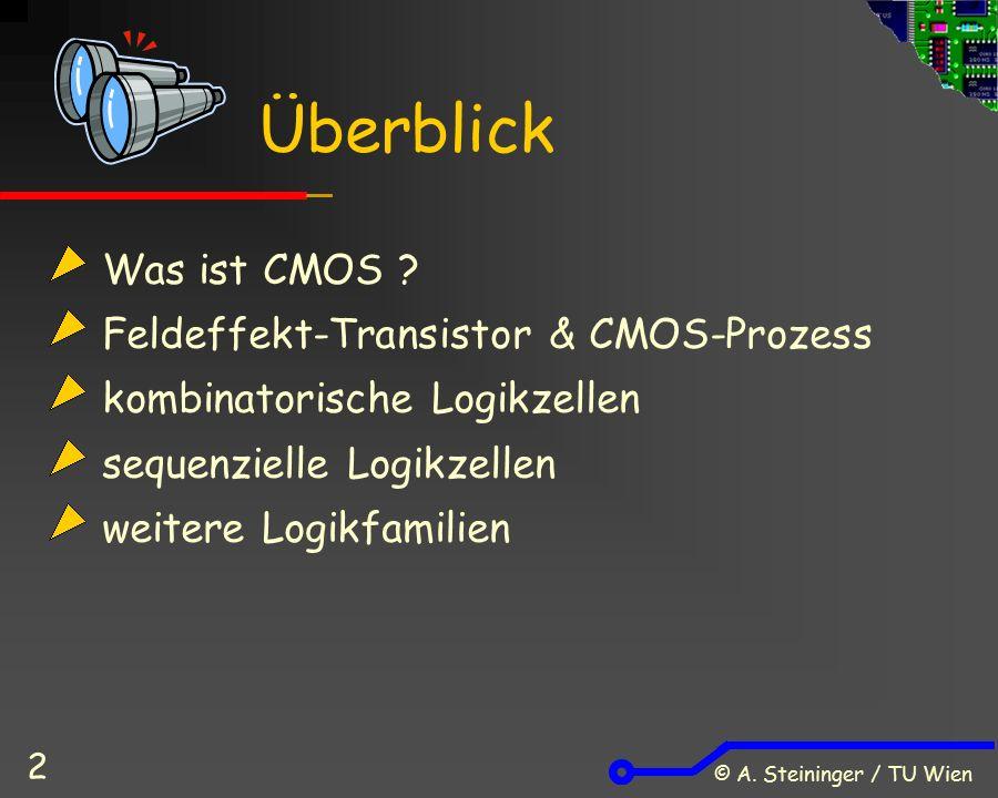 © A. Steininger / TU Wien 2 Was ist CMOS ? Feldeffekt-Transistor & CMOS-Prozess kombinatorische Logikzellen sequenzielle Logikzellen weitere Logikfami