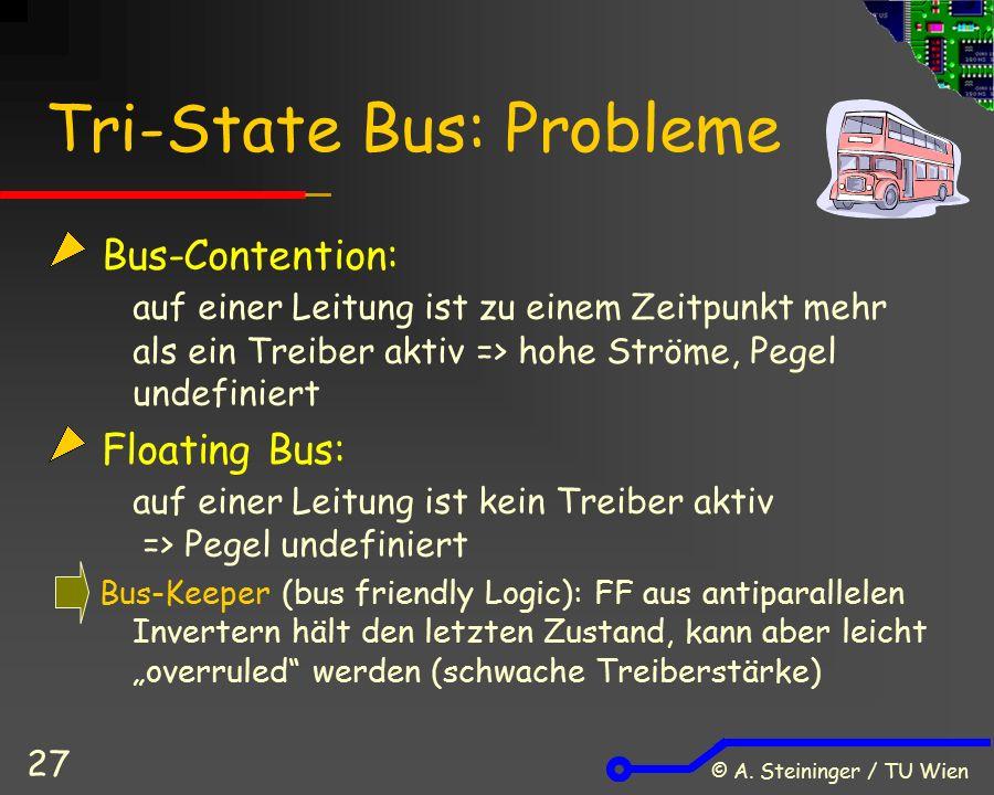 © A. Steininger / TU Wien 27 Tri-State Bus: Probleme Bus-Contention: auf einer Leitung ist zu einem Zeitpunkt mehr als ein Treiber aktiv => hohe Ström