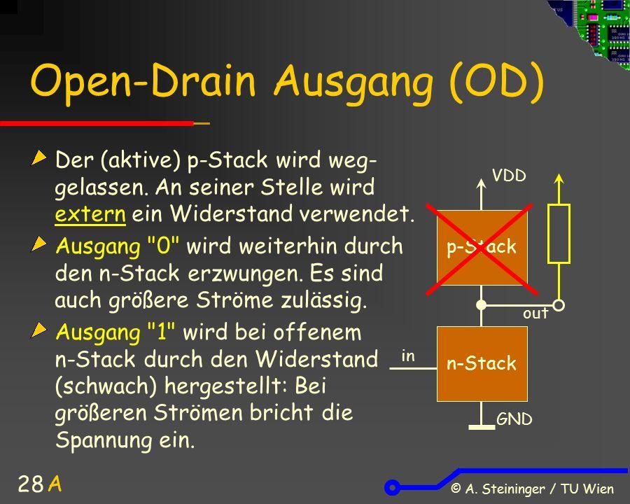 © A. Steininger / TU Wien 28 Open-Drain Ausgang (OD) Der (aktive) p-Stack wird weg- gelassen. An seiner Stelle wird extern ein Widerstand verwendet. A