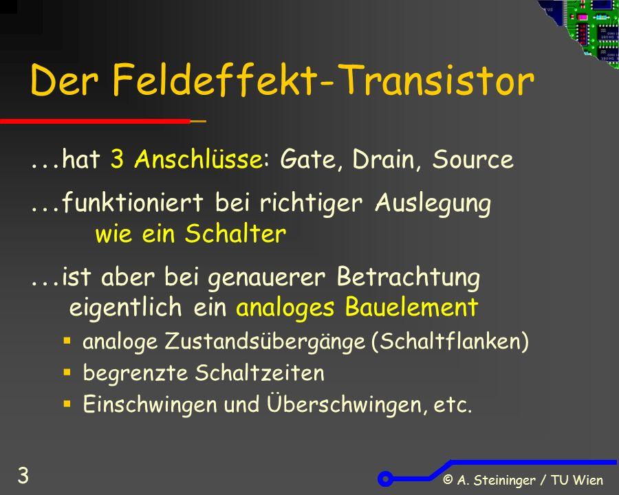 © A. Steininger / TU Wien 3 Der Feldeffekt-Transistor  hat 3 Anschlüsse: Gate, Drain, Source  funktioniert bei richtiger Auslegung wie ein Schalter