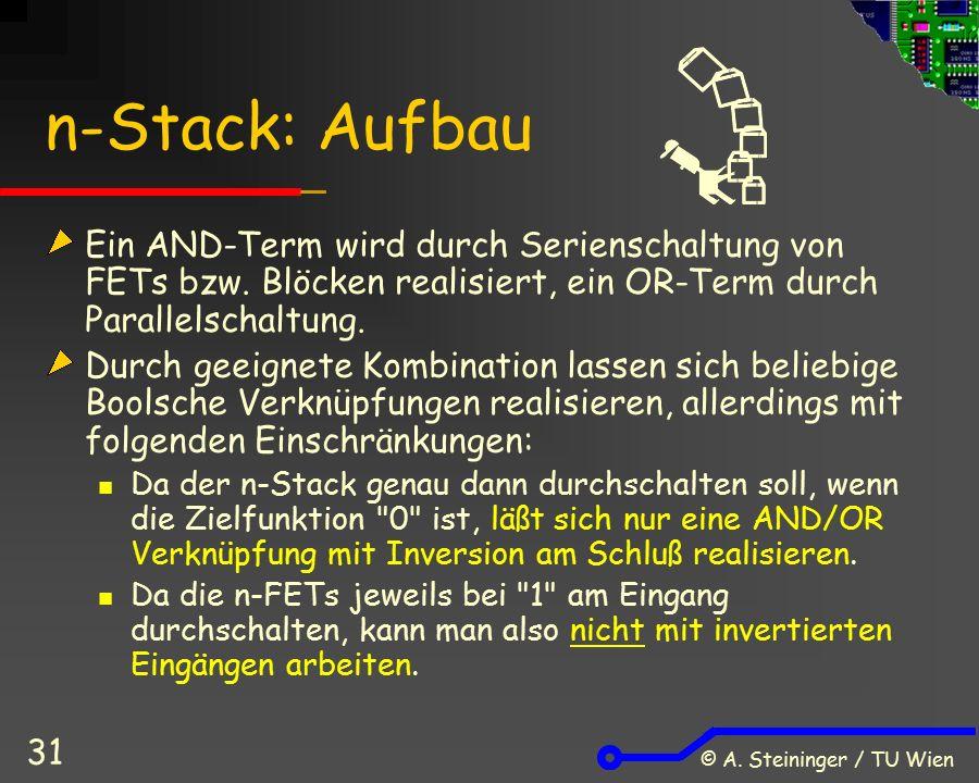 © A. Steininger / TU Wien 31 n-Stack: Aufbau Ein AND-Term wird durch Serienschaltung von FETs bzw. Blöcken realisiert, ein OR-Term durch Parallelschal