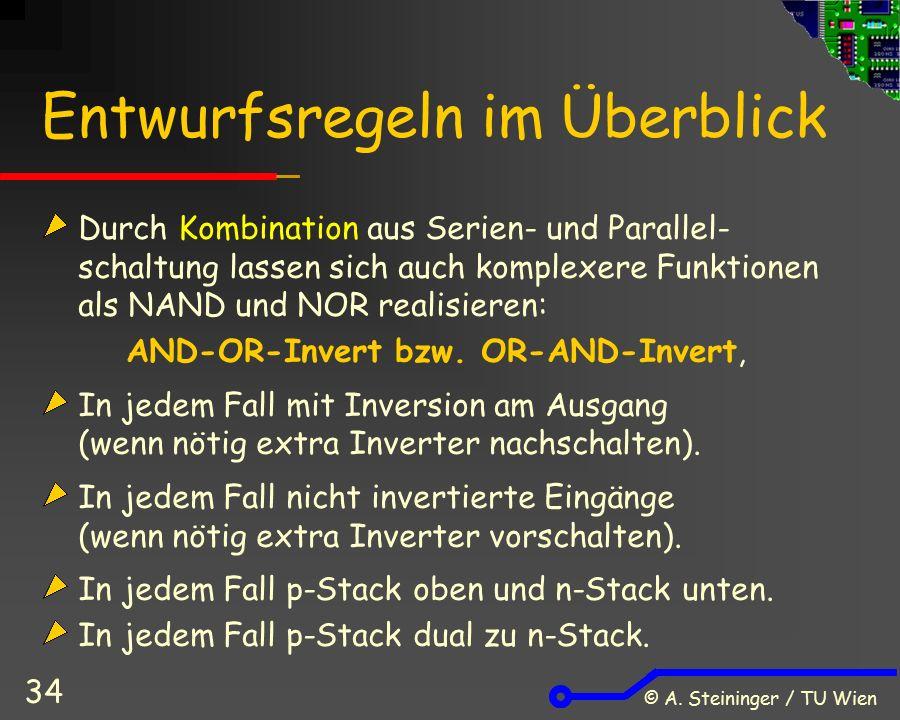 © A. Steininger / TU Wien 34 Entwurfsregeln im Überblick Durch Kombination aus Serien- und Parallel- schaltung lassen sich auch komplexere Funktionen