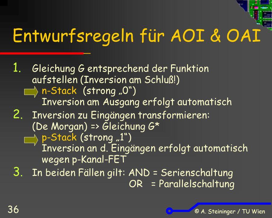 """© A. Steininger / TU Wien 36 Entwurfsregeln für AOI & OAI 1. Gleichung G entsprechend der Funktion aufstellen (Inversion am Schluß!) n-Stack (strong """""""