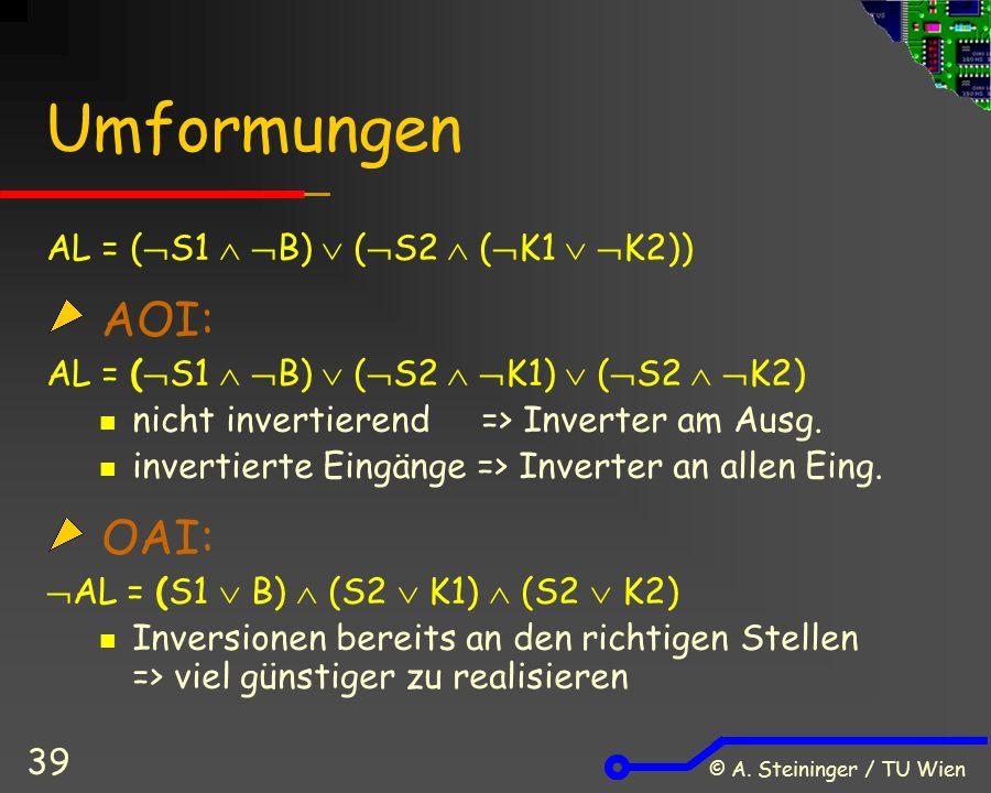 © A. Steininger / TU Wien 39 Umformungen AL = (  S1   B)  (  S2  (  K1   K2)) AOI: AL = (  S1   B)  (  S2   K1)  (  S2   K2) nicht
