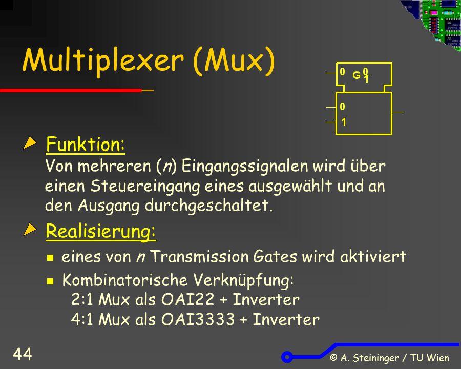 © A. Steininger / TU Wien 44 Multiplexer (Mux) Funktion: Von mehreren (n) Eingangssignalen wird über einen Steuereingang eines ausgewählt und an den A