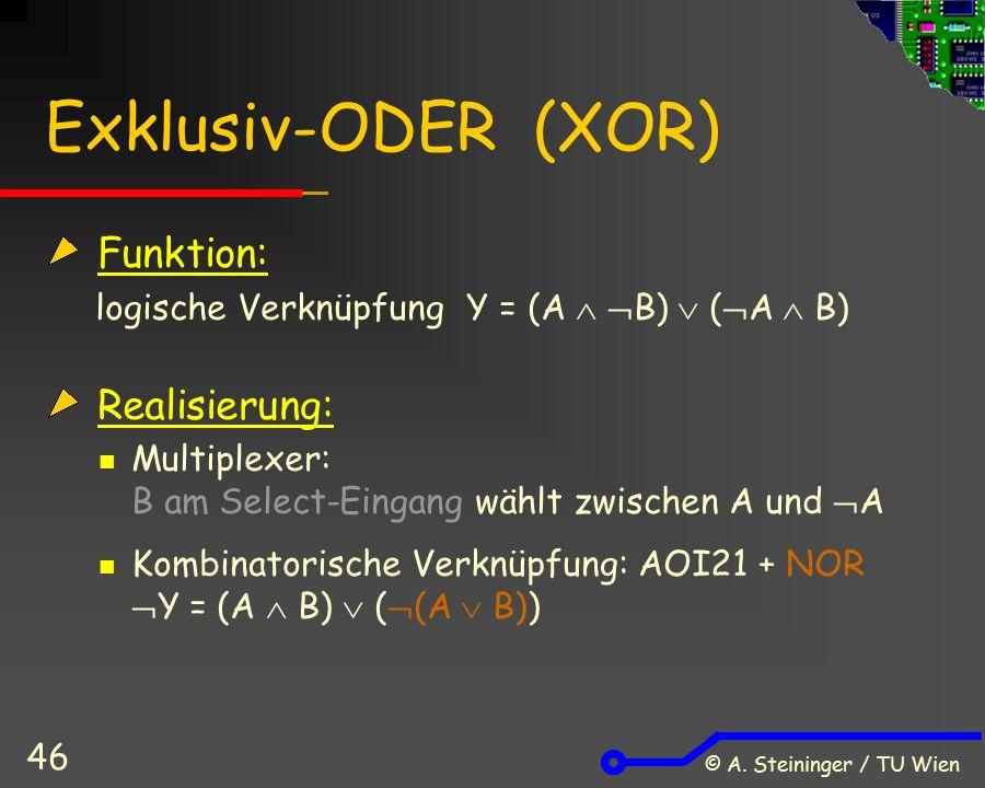 © A. Steininger / TU Wien 46 Exklusiv-ODER (XOR) Funktion: logische VerknüpfungY = (A   B)  (  A  B) Realisierung: Multiplexer: B am Select-Einga