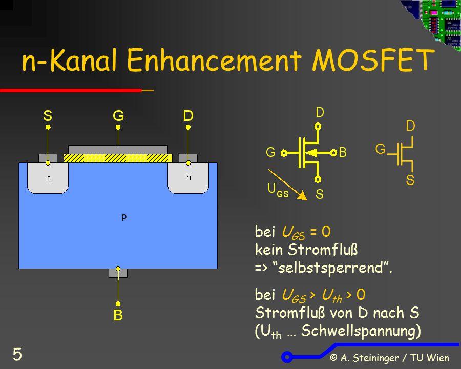 """© A. Steininger / TU Wien 5 n-Kanal Enhancement MOSFET bei U GS = 0 kein Stromfluß => """"selbstsperrend"""". bei U GS > U th > 0 Stromfluß von D nach S (U"""