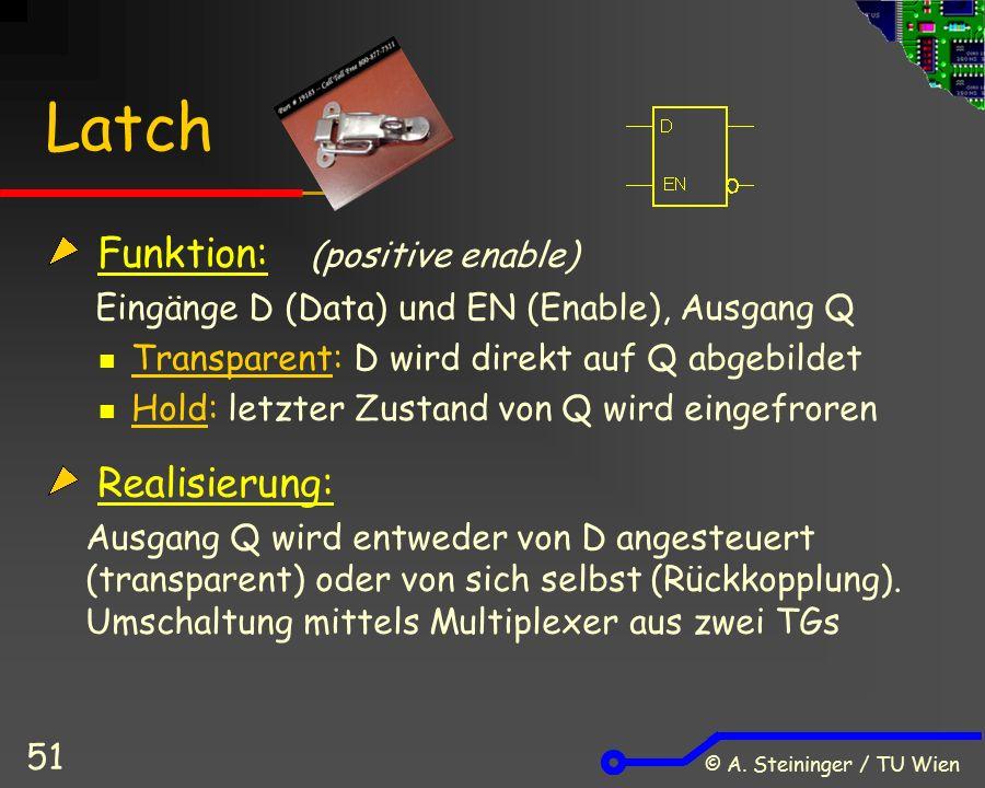 © A. Steininger / TU Wien 51 Latch Funktion: (positive enable) Eingänge D (Data) und EN (Enable), Ausgang Q Transparent: D wird direkt auf Q abgebilde