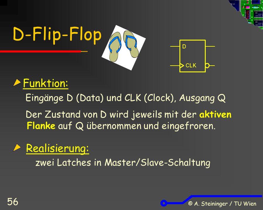 © A. Steininger / TU Wien 56 D-Flip-Flop Funktion: Eingänge D (Data) und CLK (Clock), Ausgang Q Der Zustand von D wird jeweils mit der aktiven Flanke