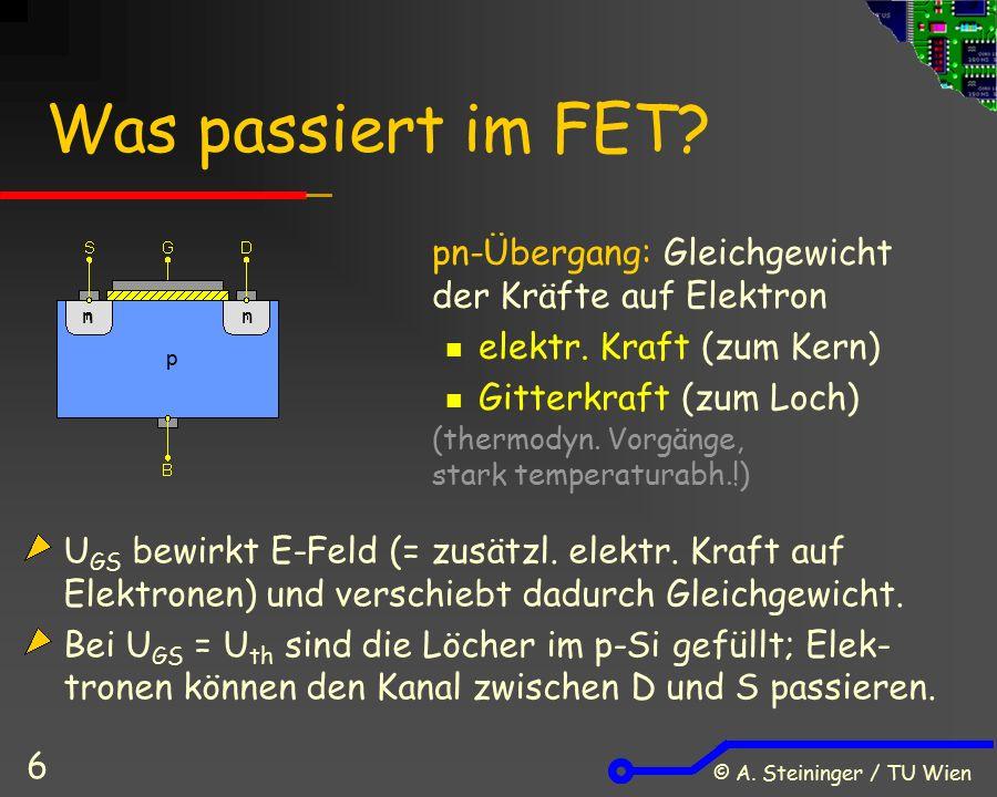 © A. Steininger / TU Wien 6 Was passiert im FET? pn-Übergang: Gleichgewicht der Kräfte auf Elektron elektr. Kraft (zum Kern) Gitterkraft (zum Loch) (t