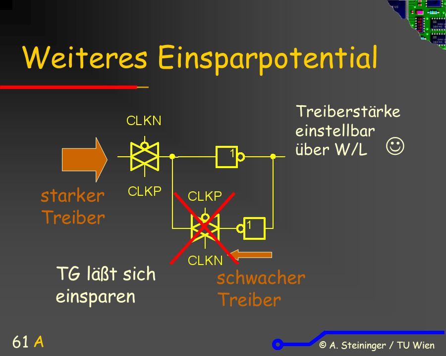 © A. Steininger / TU Wien 61 Weiteres Einsparpotential starker Treiber schwacher Treiber TG läßt sich einsparen Treiberstärke einstellbar über W/L A