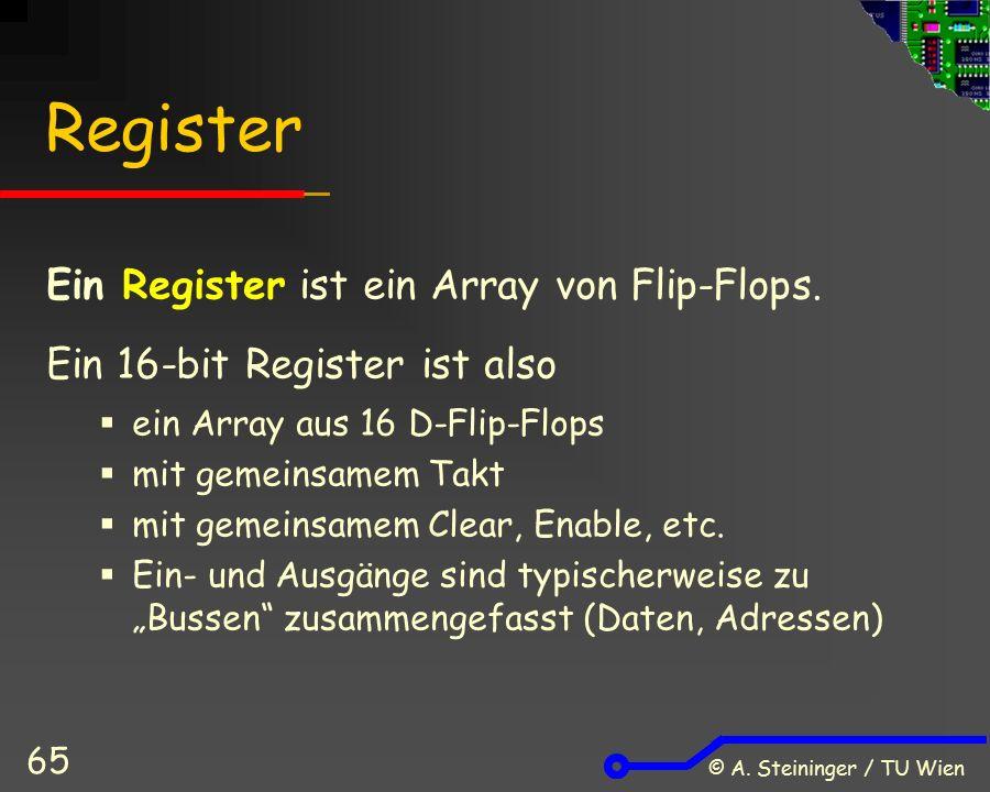 © A. Steininger / TU Wien 65 Register Ein Register ist ein Array von Flip-Flops. Ein 16-bit Register ist also  ein Array aus 16 D-Flip-Flops  mit ge