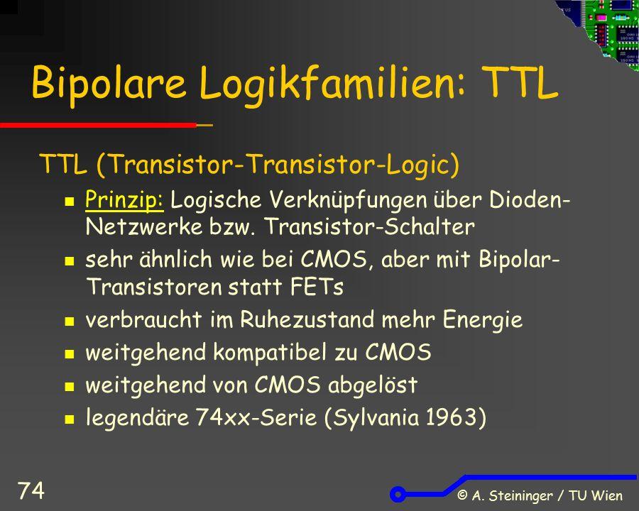 © A. Steininger / TU Wien 74 Bipolare Logikfamilien: TTL TTL (Transistor-Transistor-Logic) Prinzip: Logische Verknüpfungen über Dioden- Netzwerke bzw.