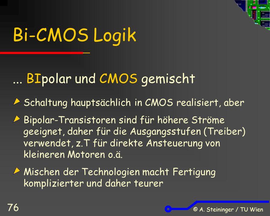 © A. Steininger / TU Wien 76 Bi-CMOS Logik... BIpolar und CMOS gemischt Schaltung hauptsächlich in CMOS realisiert, aber Bipolar-Transistoren sind für