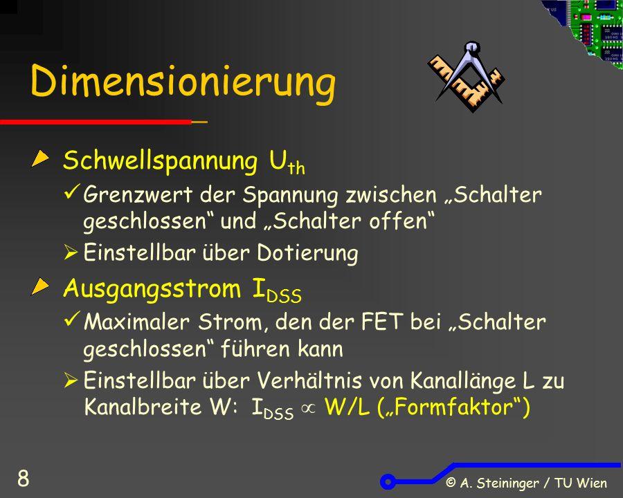 """© A.Steininger / TU Wien 19 Der CMOS-Inverter: Funktion """"1 am Eingang: p-FET offen n-FET geschl."""