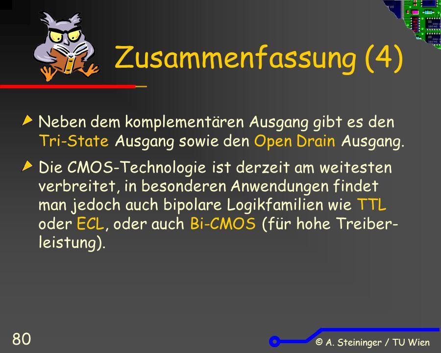 © A. Steininger / TU Wien 80 Zusammenfassung (4) Neben dem komplementären Ausgang gibt es den Tri-State Ausgang sowie den Open Drain Ausgang. Die CMOS