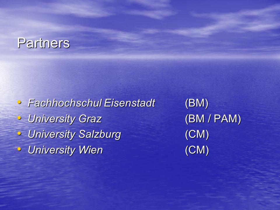 Partners Fachhochschul Eisenstadt(BM) Fachhochschul Eisenstadt(BM) University Graz(BM / PAM) University Graz(BM / PAM) University Salzburg(CM) University Salzburg(CM) University Wien(CM) University Wien(CM)