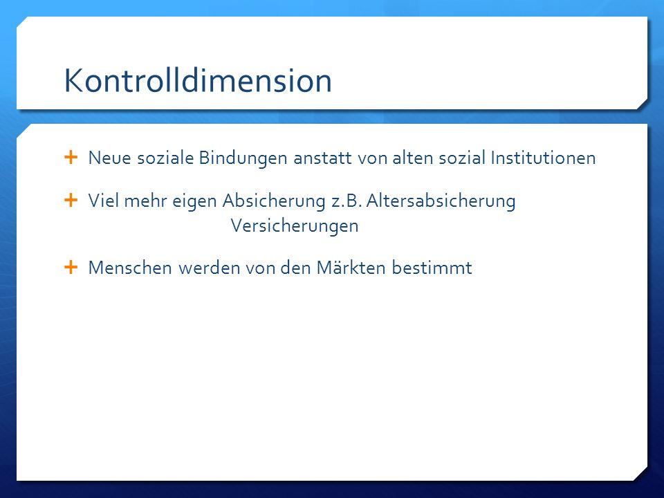 Kontrolldimension  Neue soziale Bindungen anstatt von alten sozial Institutionen  Viel mehr eigen Absicherung z.B.