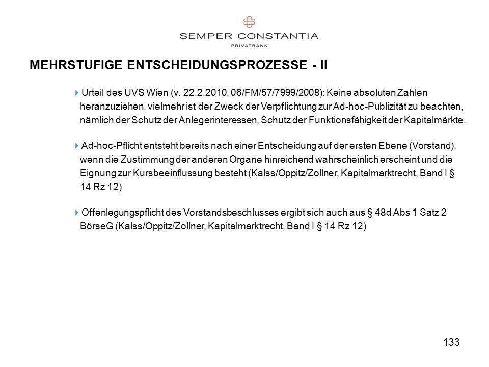 133 MEHRSTUFIGE ENTSCHEIDUNGSPROZESSE - II  Urteil des UVS Wien (v.