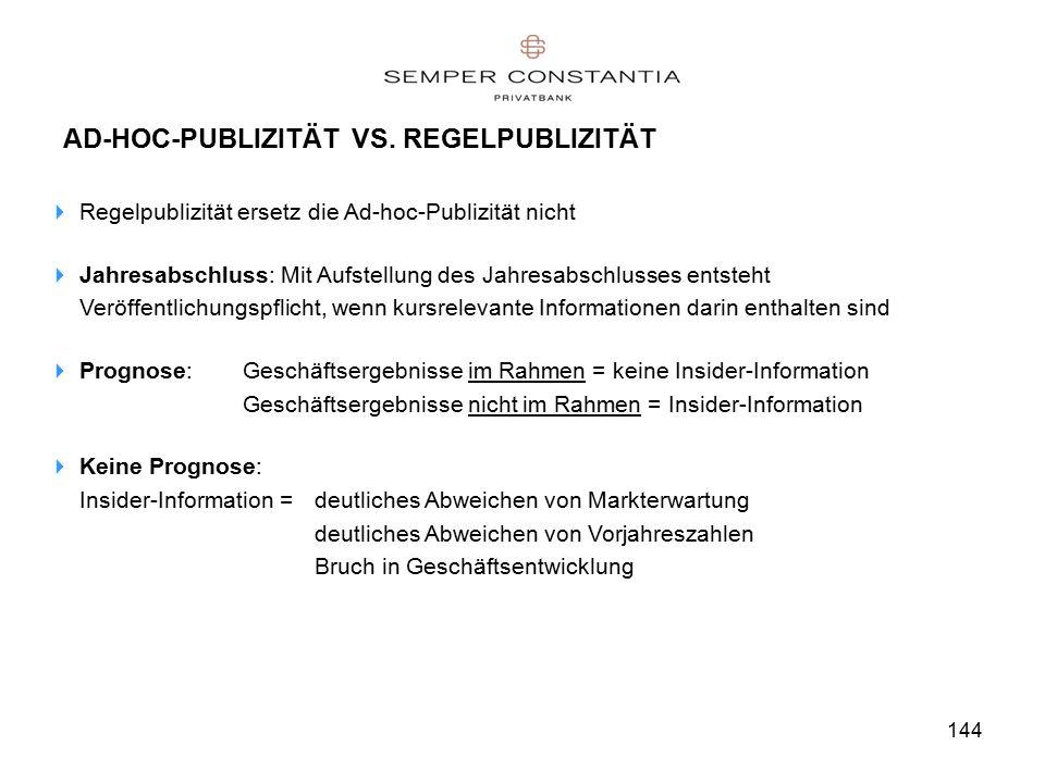 144 AD-HOC-PUBLIZITÄT VS.