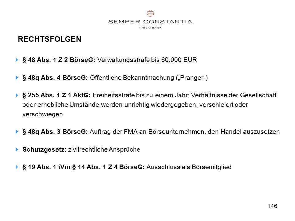 146 RECHTSFOLGEN  § 48 Abs. 1 Z 2 BörseG: Verwaltungsstrafe bis 60.000 EUR  § 48q Abs.