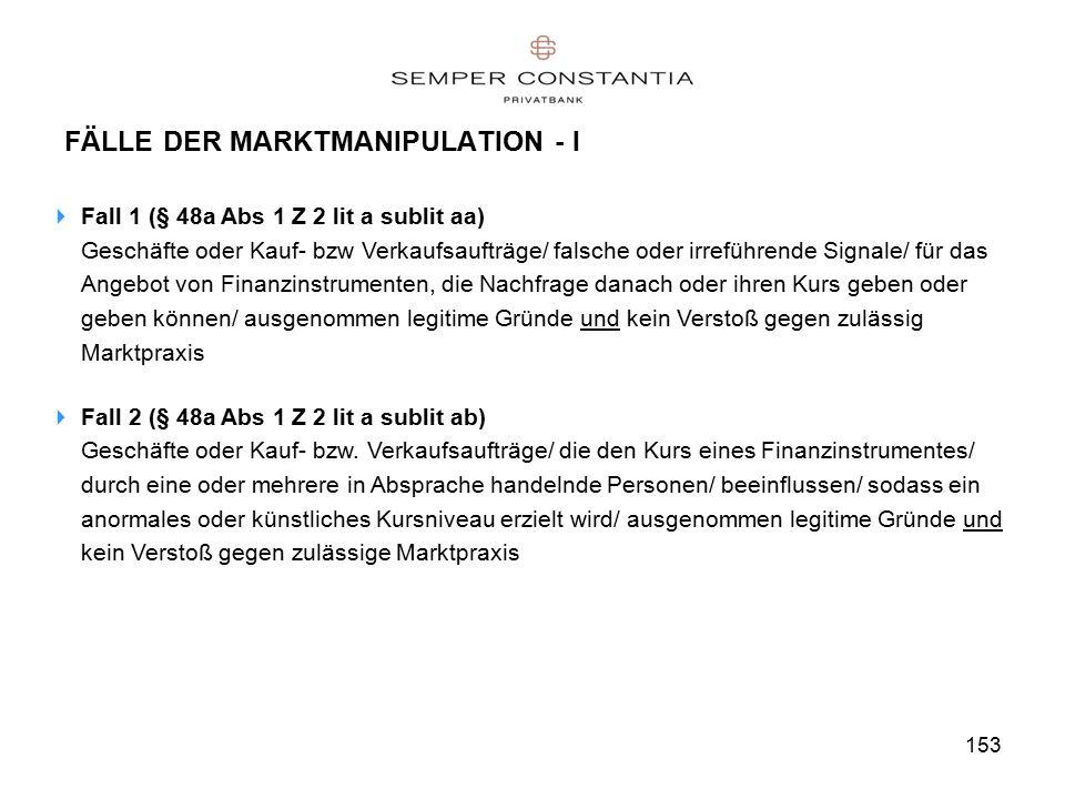 153 FÄLLE DER MARKTMANIPULATION - I  Fall 1 (§ 48a Abs 1 Z 2 lit a sublit aa) Geschäfte oder Kauf- bzw Verkaufsaufträge/ falsche oder irreführende Signale/ für das Angebot von Finanzinstrumenten, die Nachfrage danach oder ihren Kurs geben oder geben können/ ausgenommen legitime Gründe und kein Verstoß gegen zulässig Marktpraxis  Fall 2 (§ 48a Abs 1 Z 2 lit a sublit ab) Geschäfte oder Kauf- bzw.