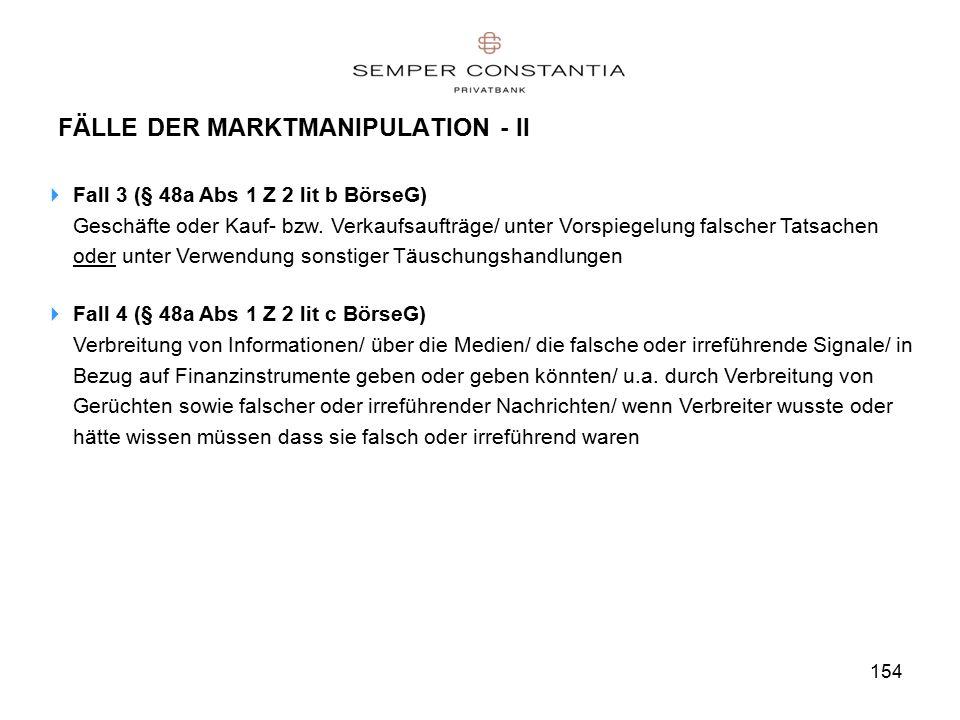 154 FÄLLE DER MARKTMANIPULATION - II  Fall 3 (§ 48a Abs 1 Z 2 lit b BörseG) Geschäfte oder Kauf- bzw.