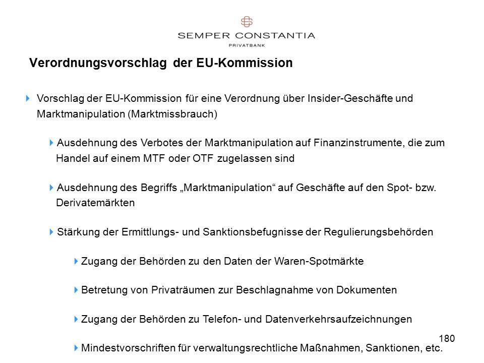 """180 Verordnungsvorschlag der EU-Kommission  Vorschlag der EU-Kommission für eine Verordnung über Insider-Geschäfte und Marktmanipulation (Marktmissbrauch)  Ausdehnung des Verbotes der Marktmanipulation auf Finanzinstrumente, die zum Handel auf einem MTF oder OTF zugelassen sind  Ausdehnung des Begriffs """"Marktmanipulation auf Geschäfte auf den Spot- bzw."""