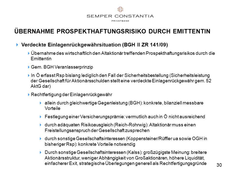 30 ÜBERNAHME PROSPEKTHAFTUNGSRISIKO DURCH EMITTENTIN  Verdeckte Einlagenrückgewährsituation (BGH II ZR 141/09)  Übernahme des wirtschaftlich den Altaktionär treffenden Prospekthaftungsrisikos durch die Emittentin  Gem.