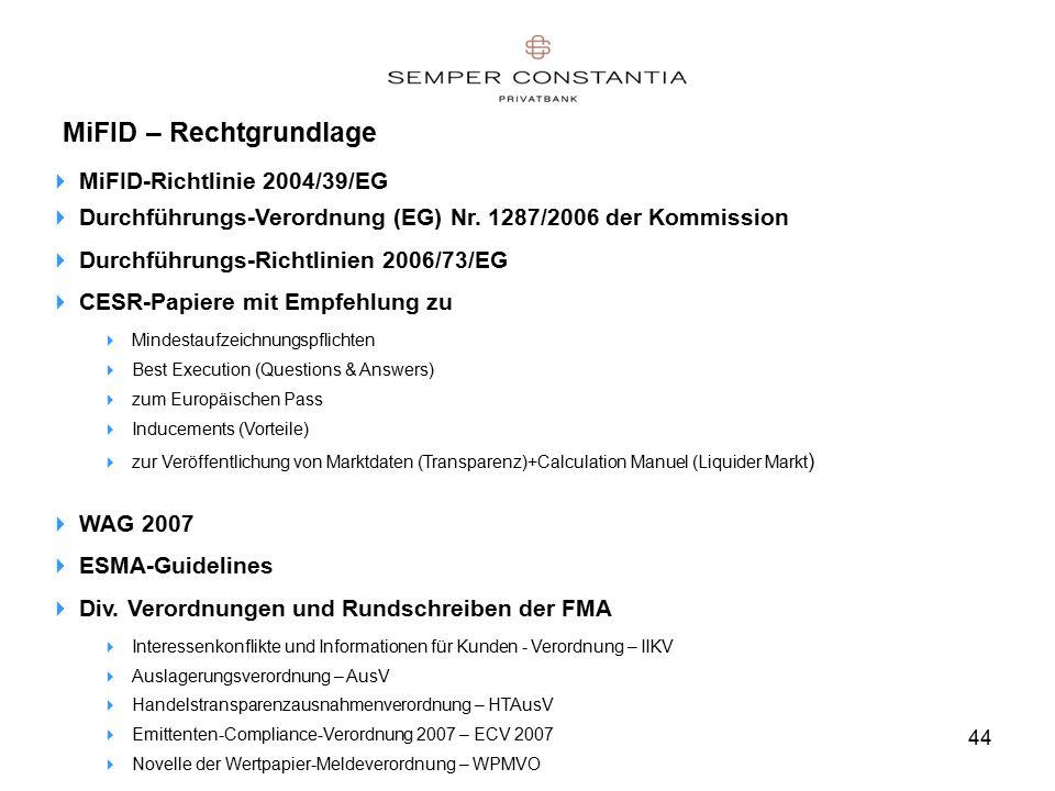 44 MiFID – Rechtgrundlage  MiFID-Richtlinie 2004/39/EG  Durchführungs-Verordnung (EG) Nr.