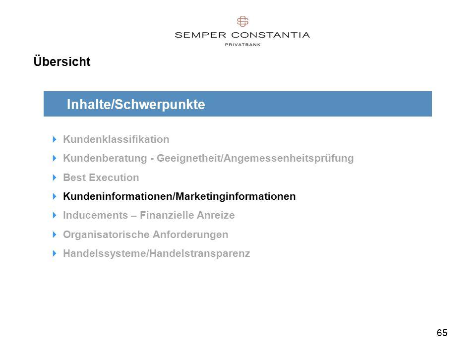 65 Übersicht Inhalte/Schwerpunkte  Kundenklassifikation  Kundenberatung - Geeignetheit/Angemessenheitsprüfung  Best Execution  Kundeninformationen/Marketinginformationen  Inducements – Finanzielle Anreize  Organisatorische Anforderungen  Handelssysteme/Handelstransparenz